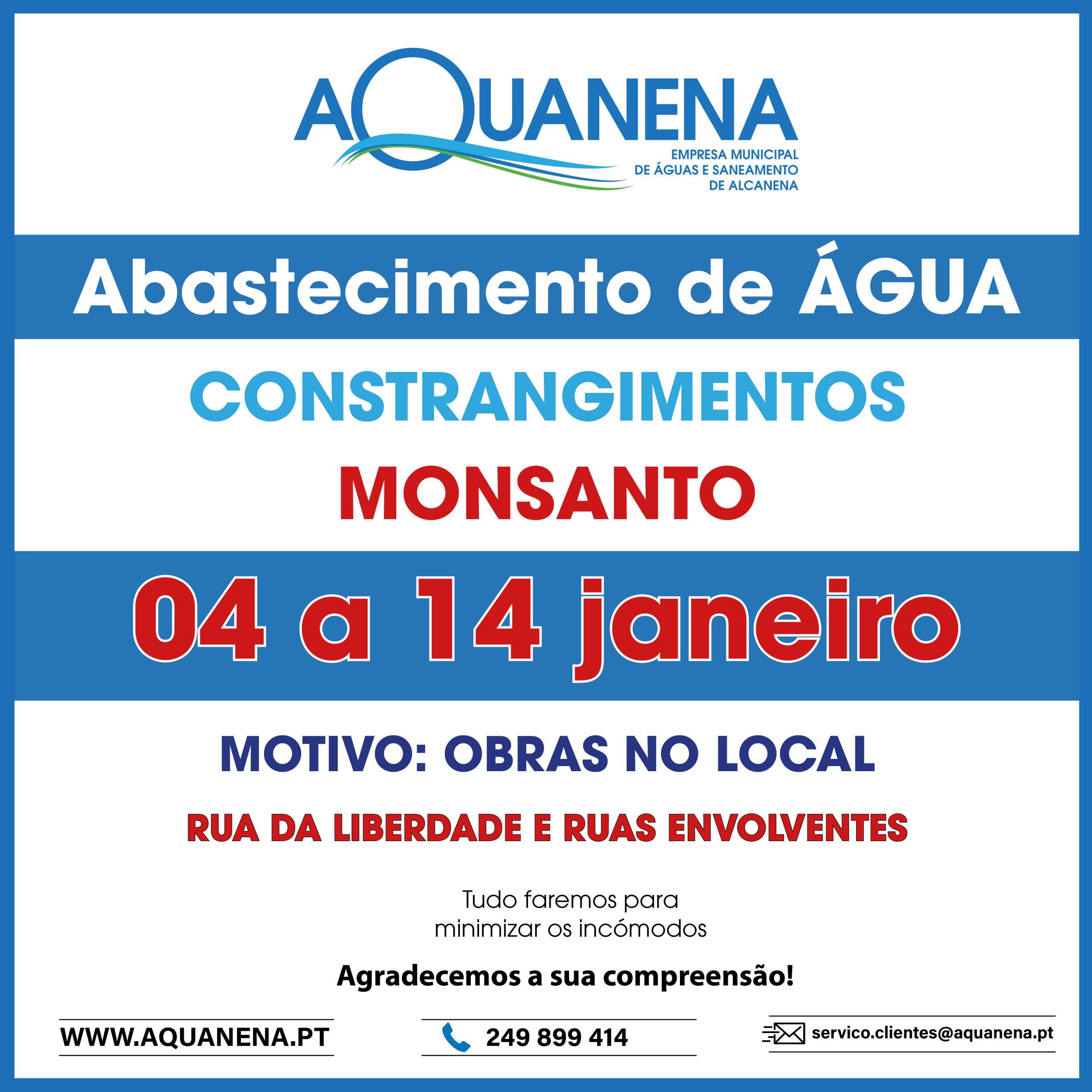 Constrangimentos no abastecimento de água devido a OBRAS em MONSANTO