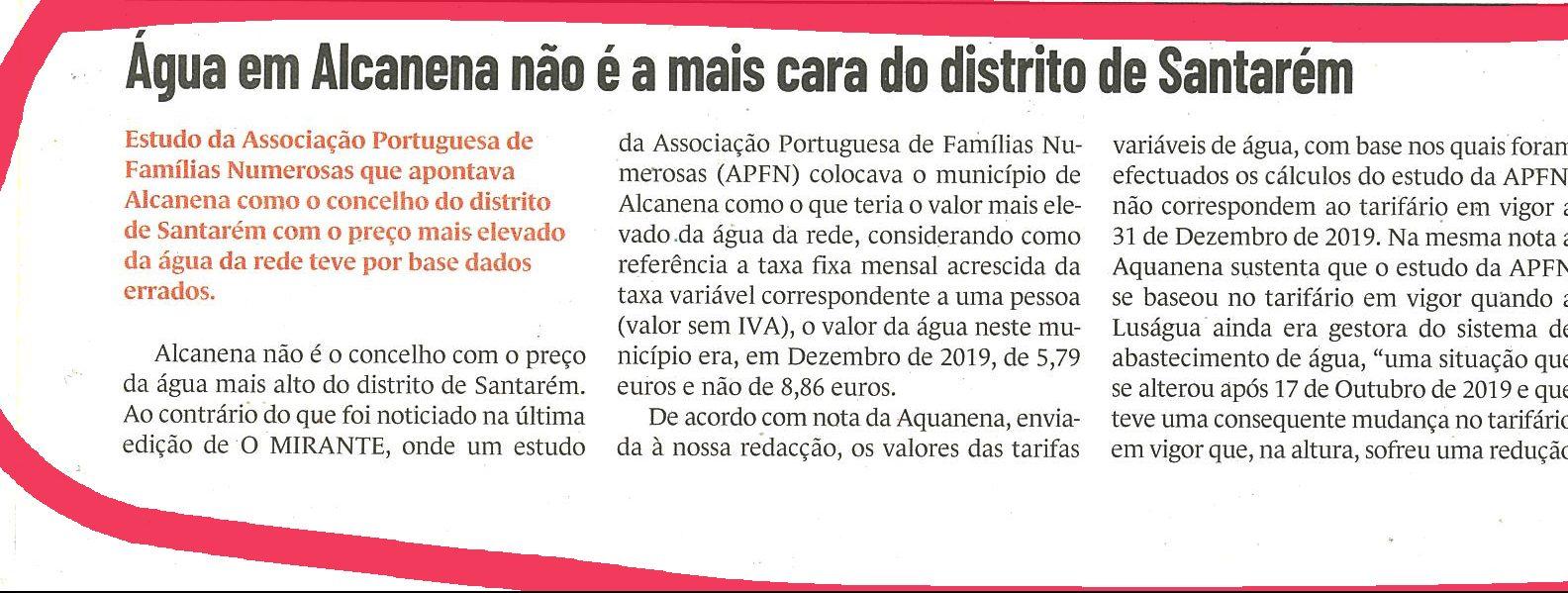 """""""Água de Alcanena não é a mais cara do distrito de Santarém"""" – Artigo Jornal O MIRANTE"""