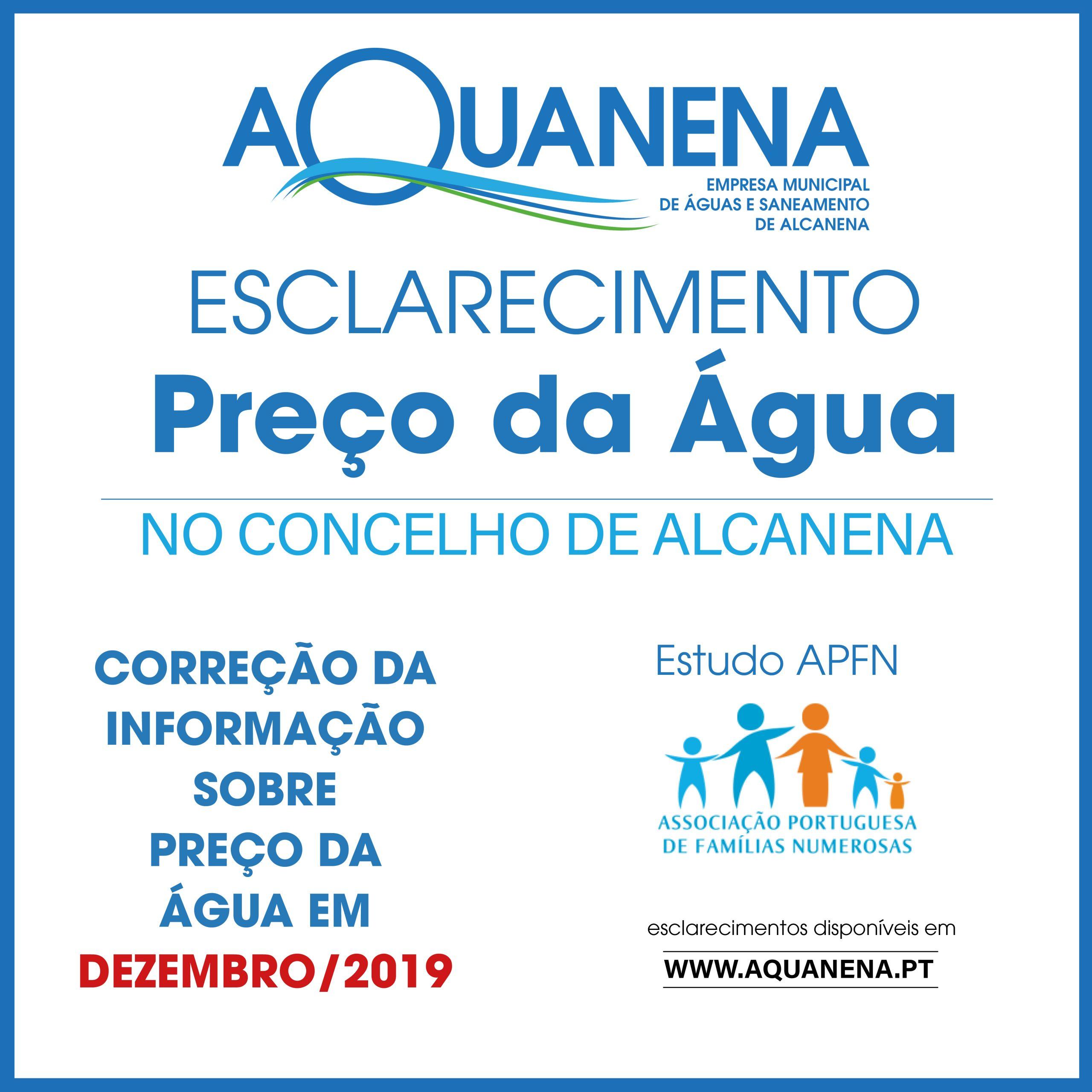 ESCLARECIMENTO AQUANENA sobre preço da água no concelho da Alcanena | DEZ 2019 | estudo APFN