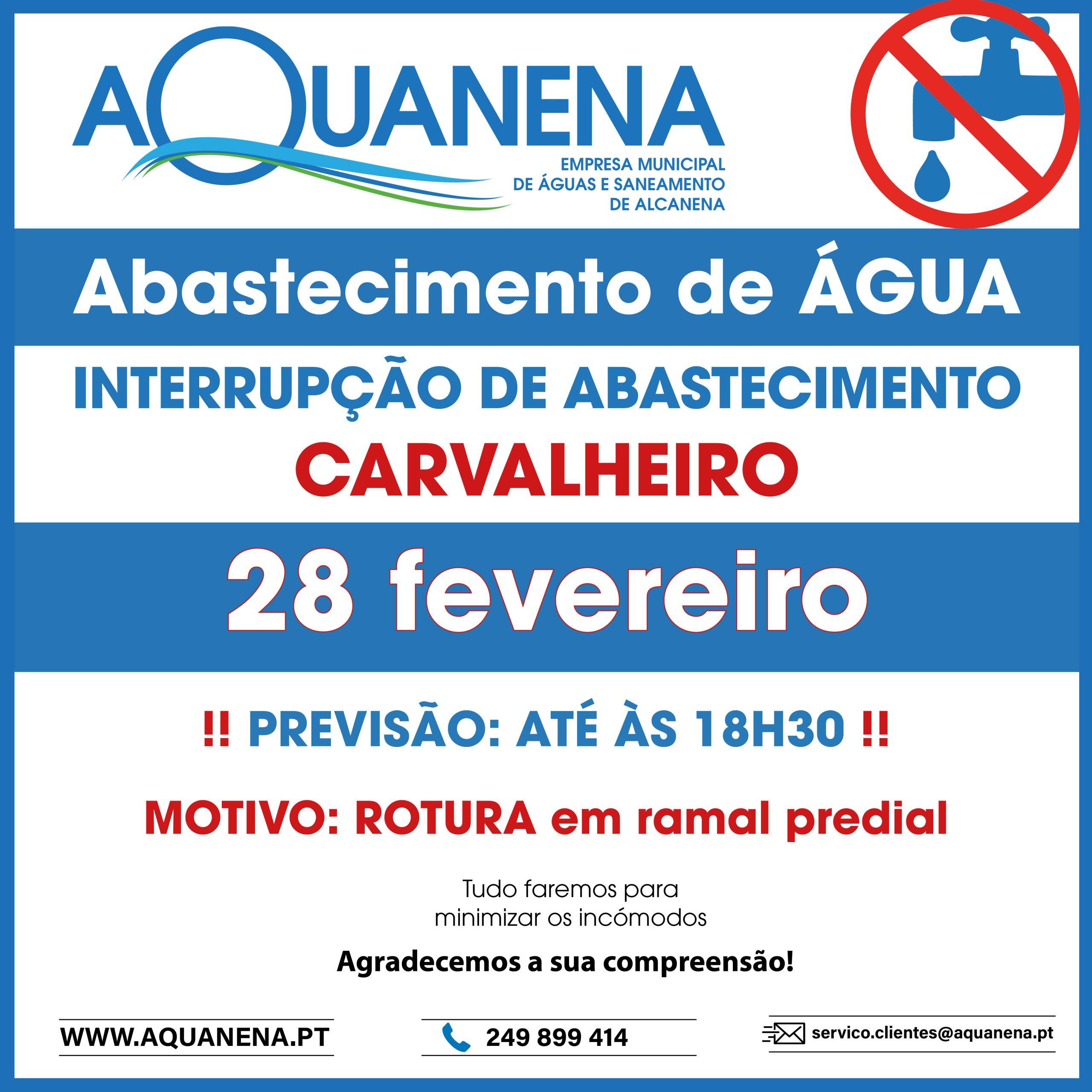 INTERRUPÇÃO de abastecimento de água em CARVALHEIRO