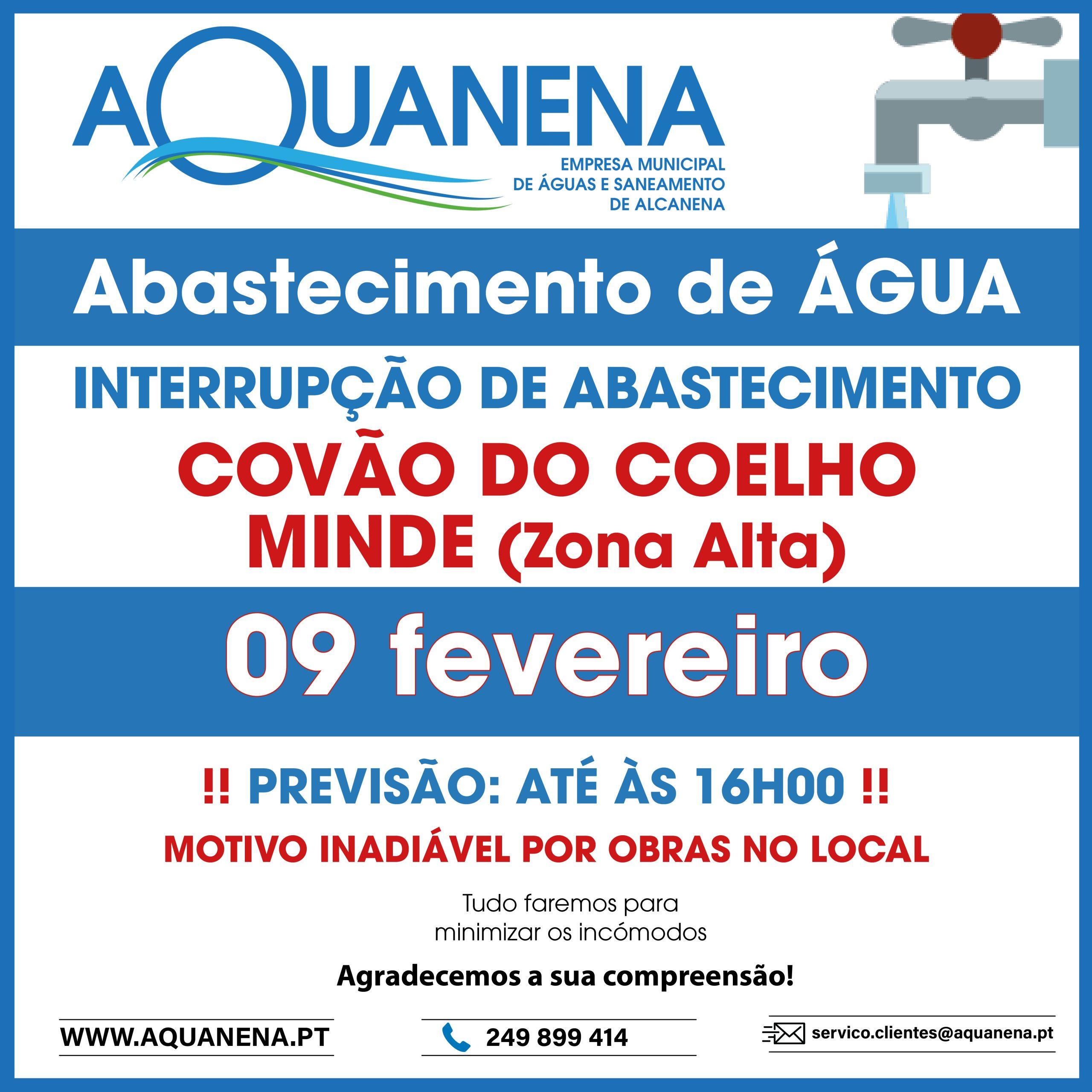 INTERRUPÇÃO de abastecimento de água em COVÃO DO COELHO e Minde (Zona Alta)