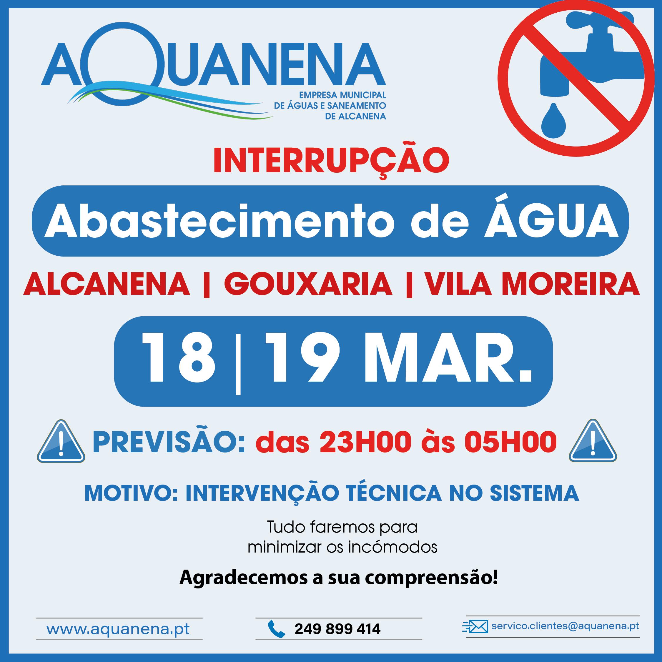 INTERRUPÇÃO de abastecimento de água em ALCANENA | GOUXARIA | VILA MOREIRA | 18-19 MAR