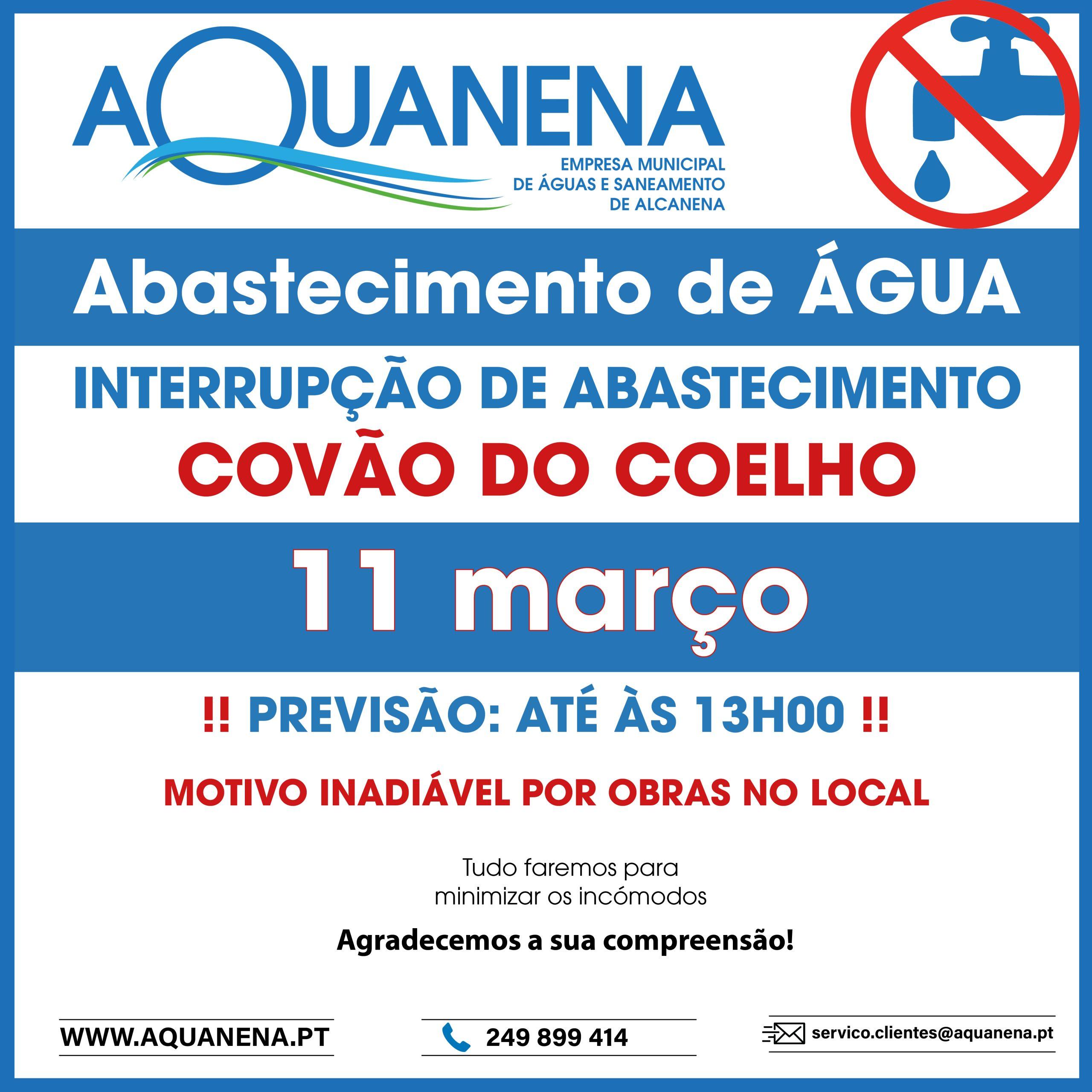 INTERRUPÇÃO de abastecimento de água em COVÃO DO COELHO | 11 MAR