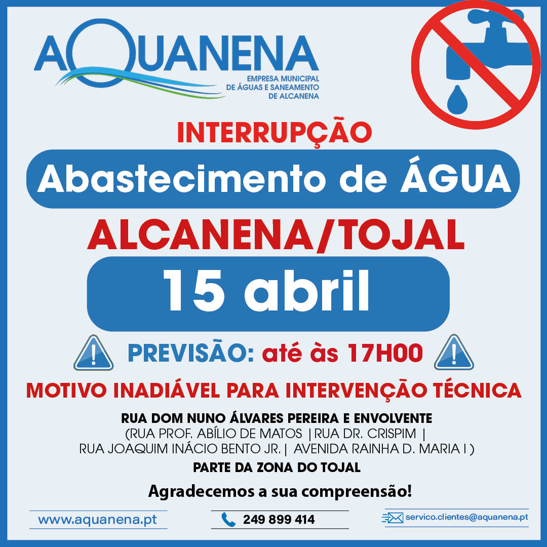 INTERRUPÇÃO de abastecimento de água em ALCANENA