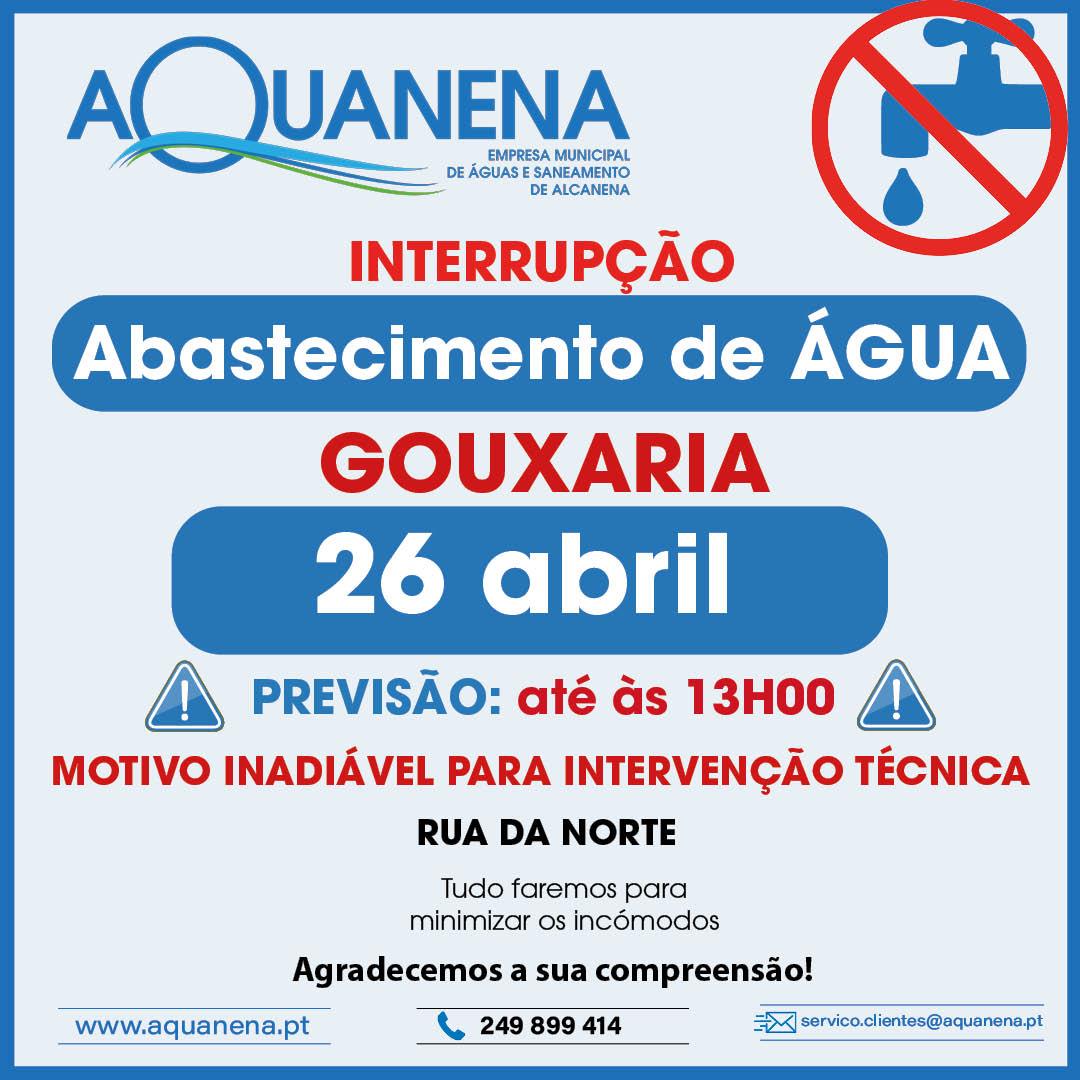 INTERRUPÇÃO de abastecimento de água em GOUXARIA