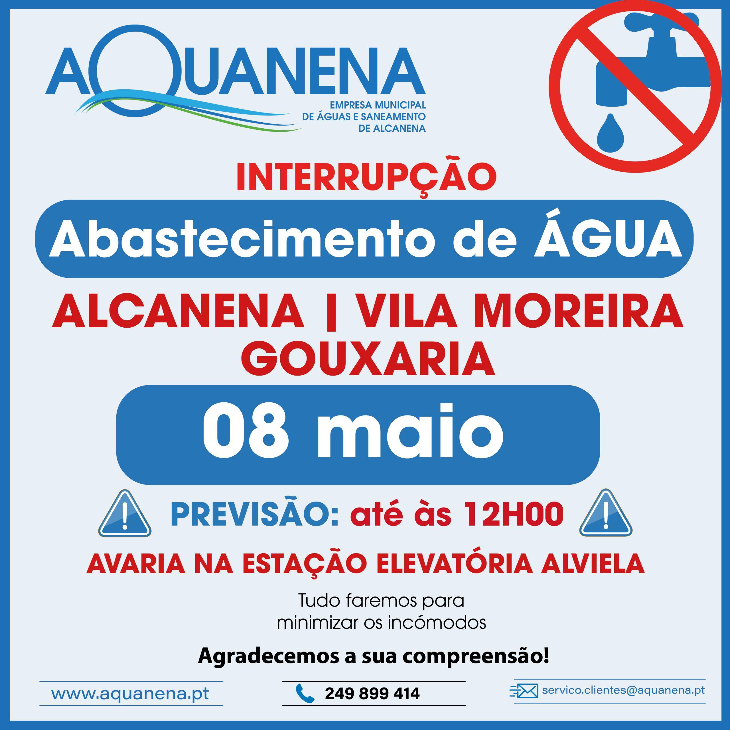 INTERRUPÇÃO de abastecimento de água em ALCANENA | GOUXARIA | VILA MOREIRA