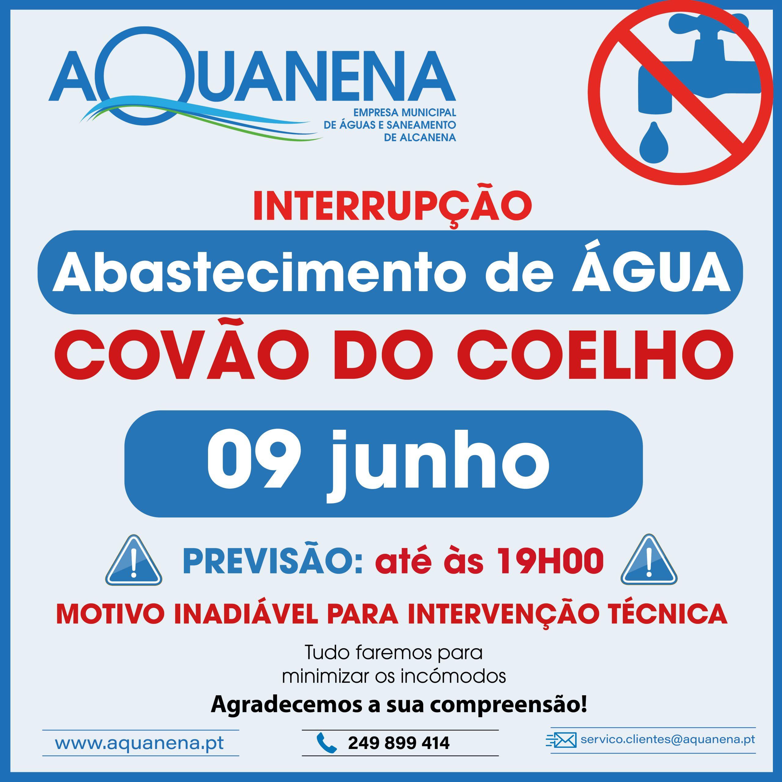 INTERRUPÇÃO de abastecimento de água em COVÃO DO COELHO