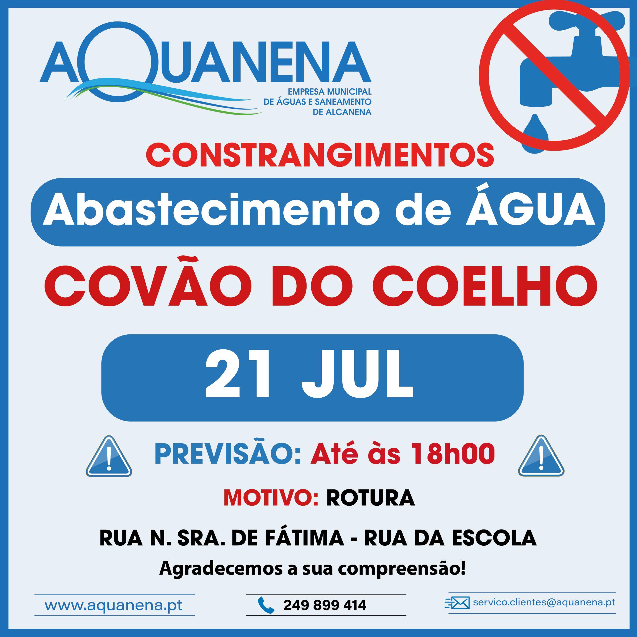 CONSTRANGIMENTOS de abastecimento de água em COVÃO DO COELHO – 21 JUL