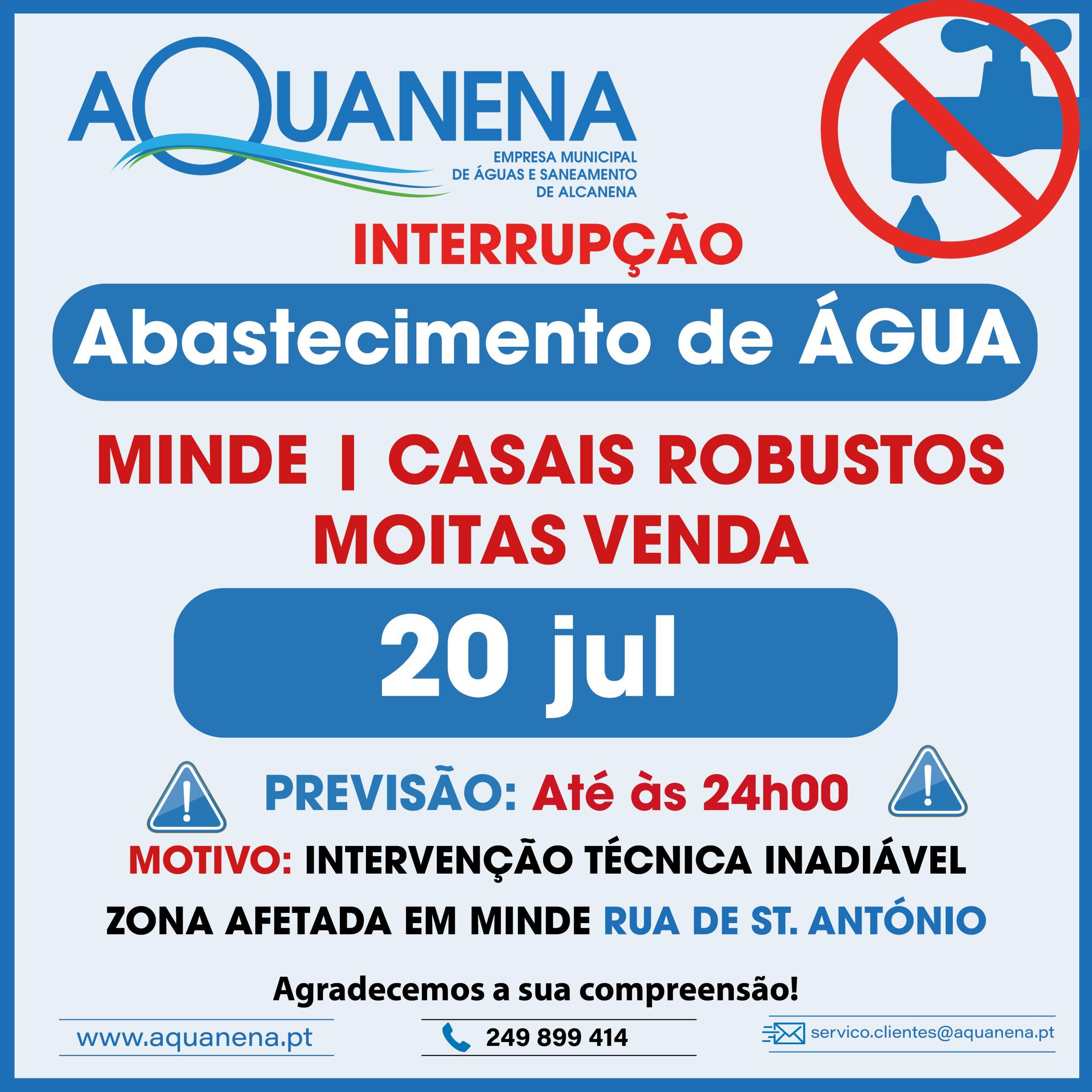 CONSTRANGIMENTOS no abastecimento de água em MINDE | CASAIS ROBUSTOS | MOITAS VENDA