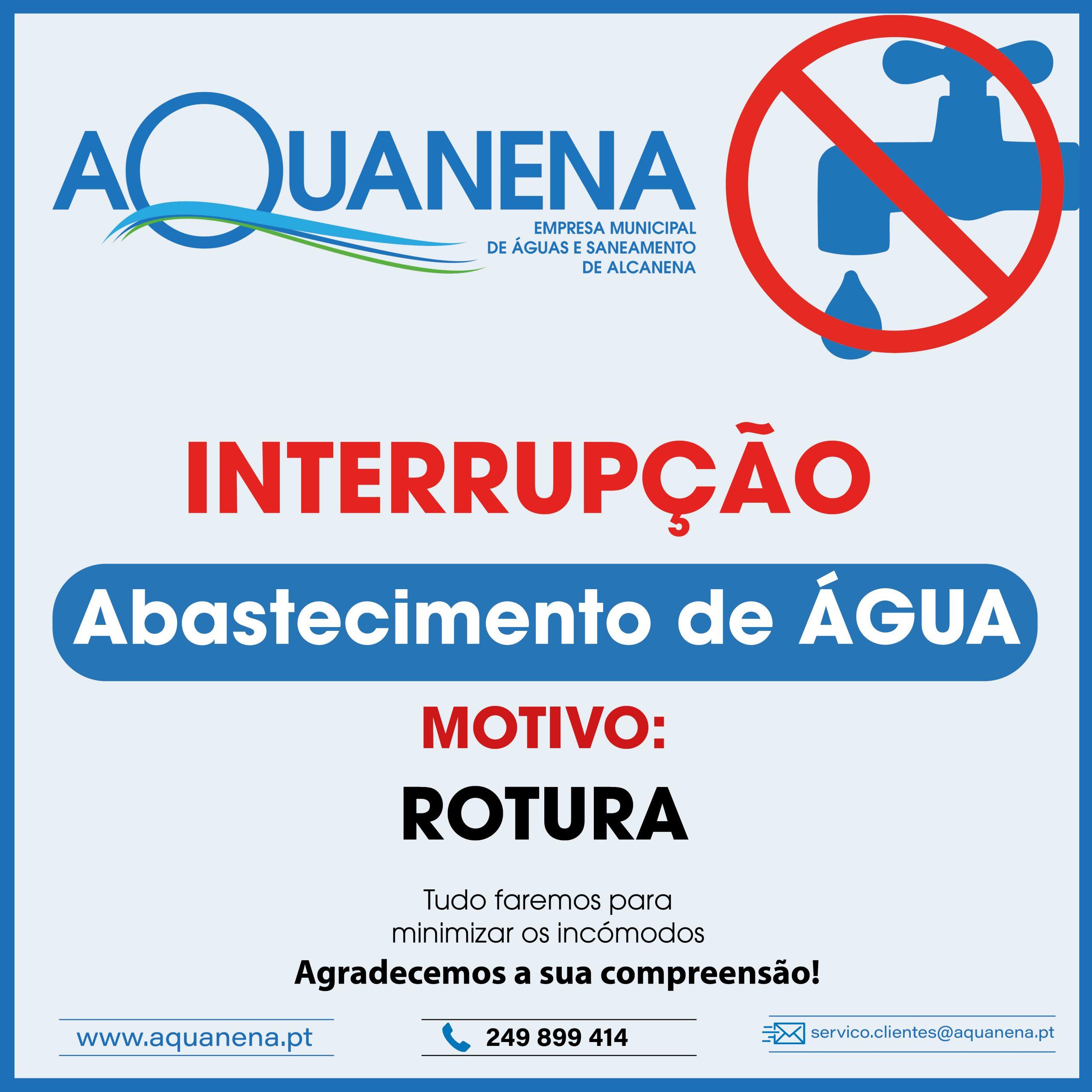 INTERRUPÇÃO DO ABASTECIMENTO de água em ALCANENA
