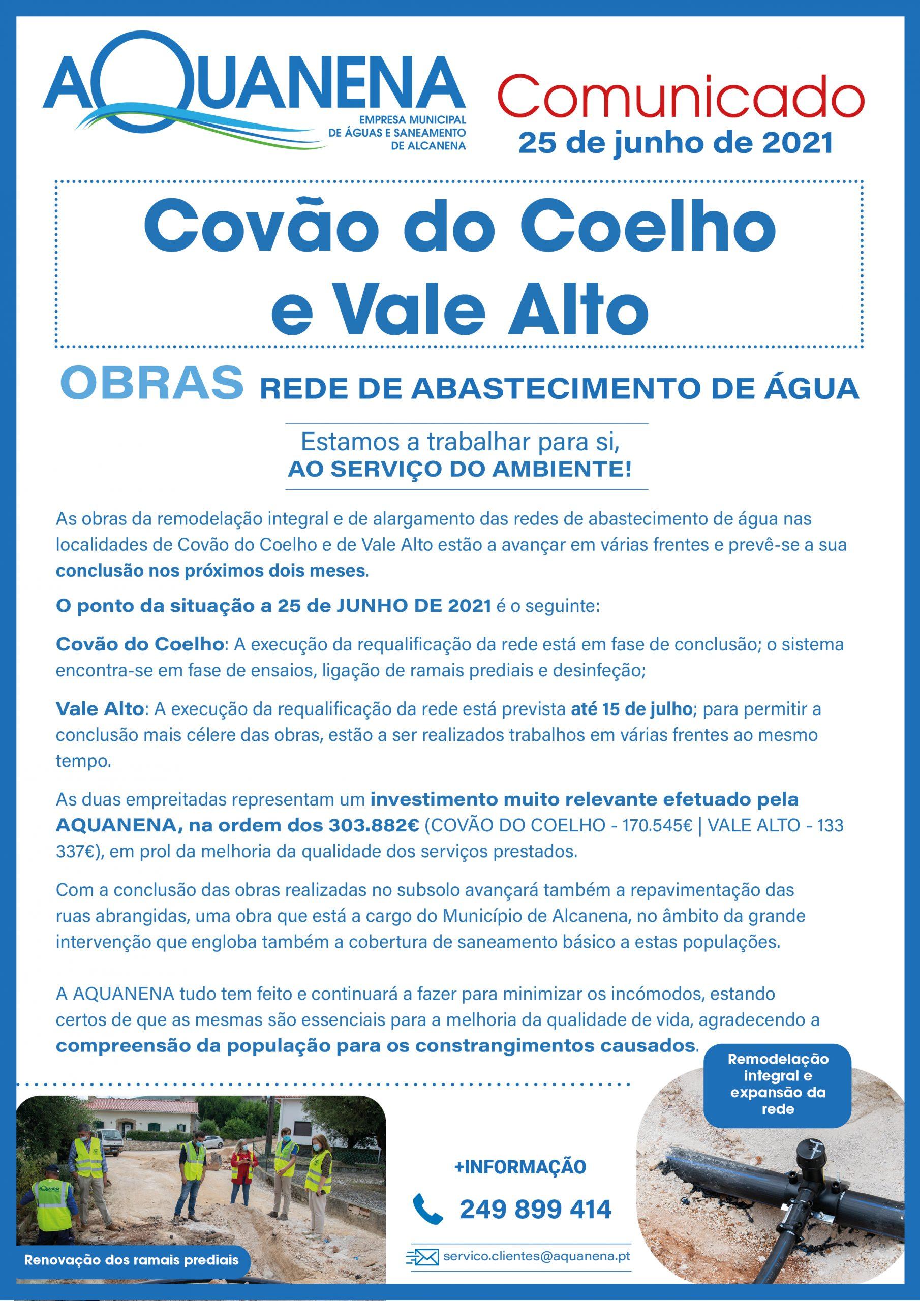 OBRAS   Rede de Abastecimento de Água Covão do Coelho e Vale Alto   PONTO DA SITUAÇÃO