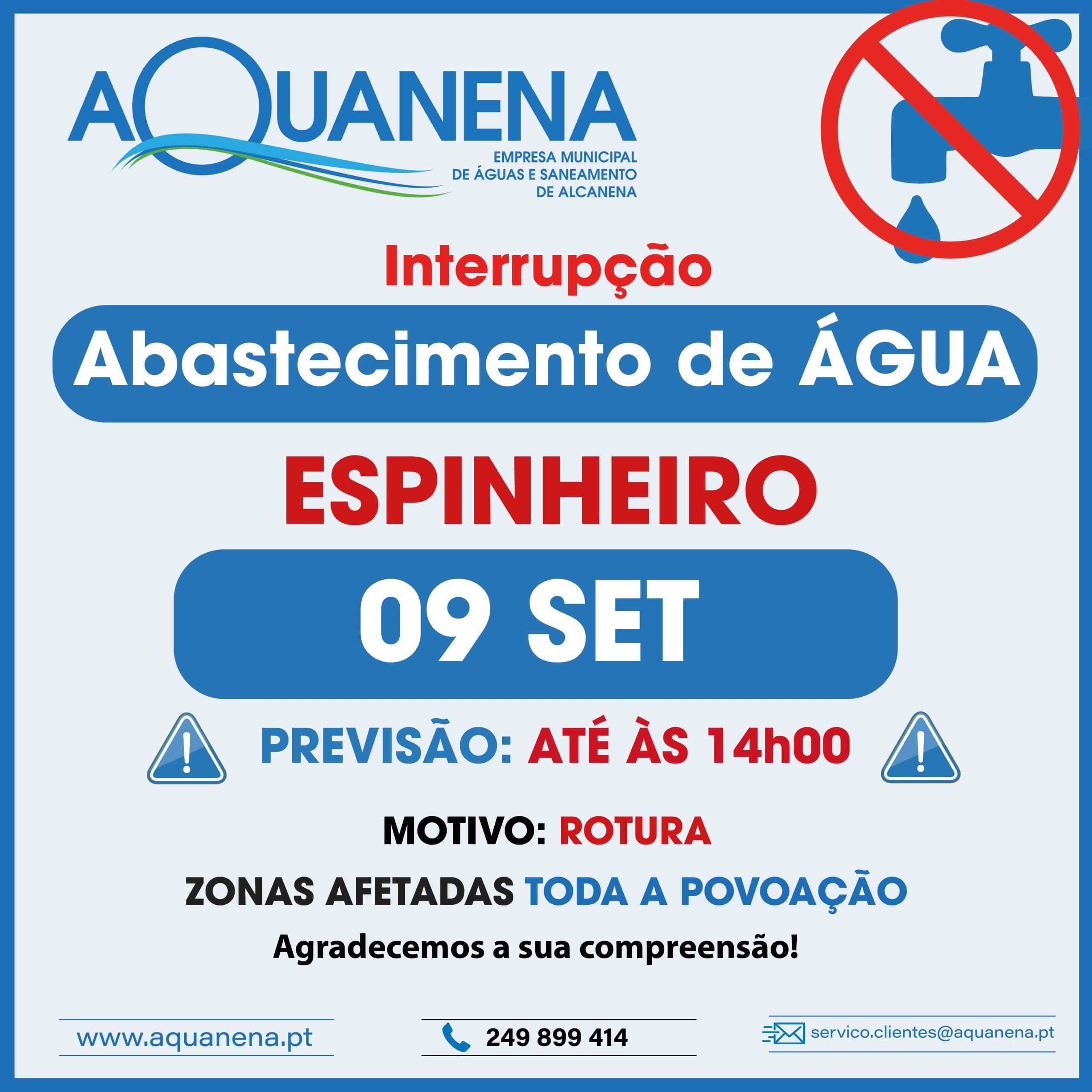 INTERRUPÇÃO DO ABASTECIMENTO de água em ESPINHEIRO