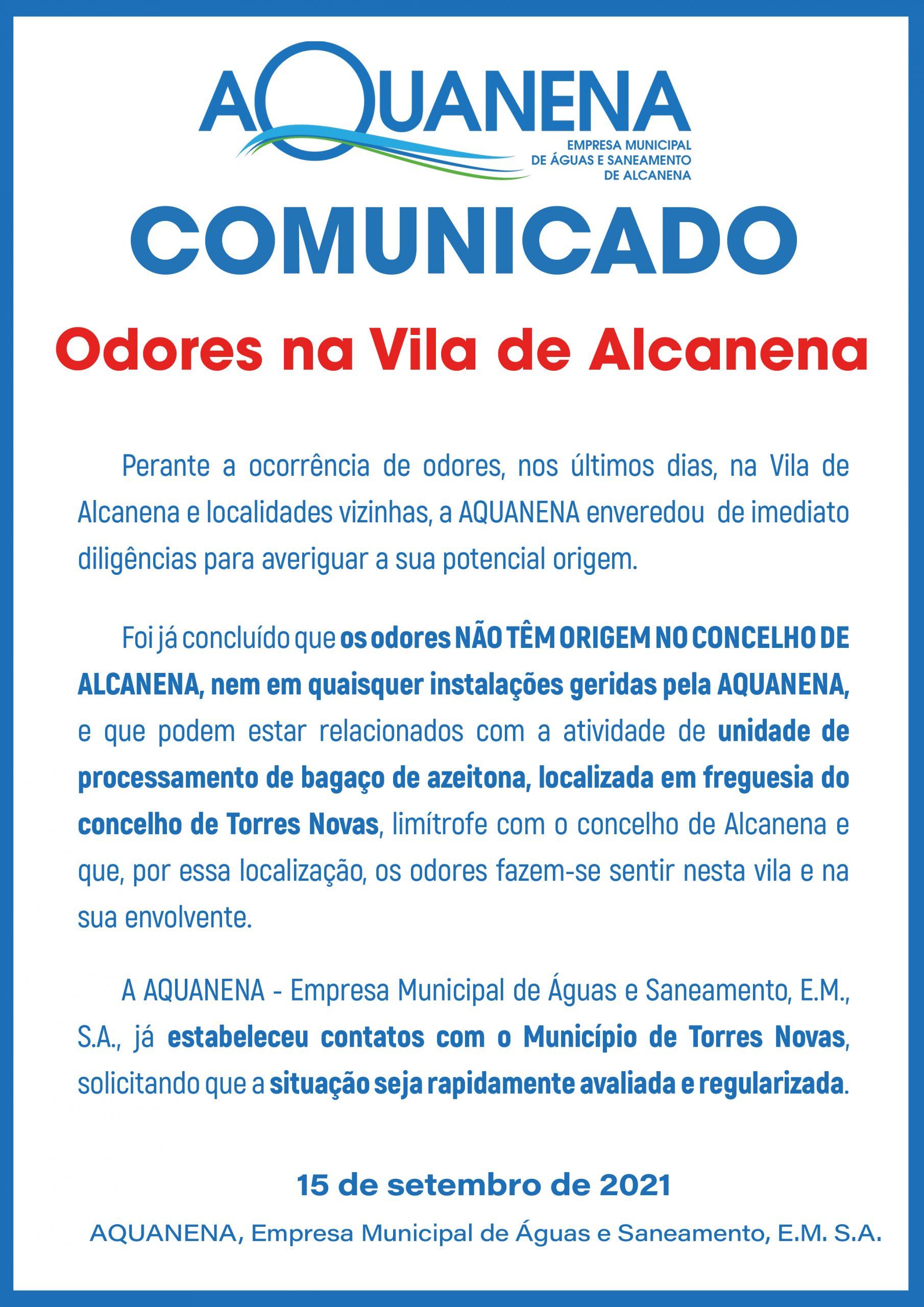 COMUNICADO   Odores na Vila de Alcanena   SET. 2021