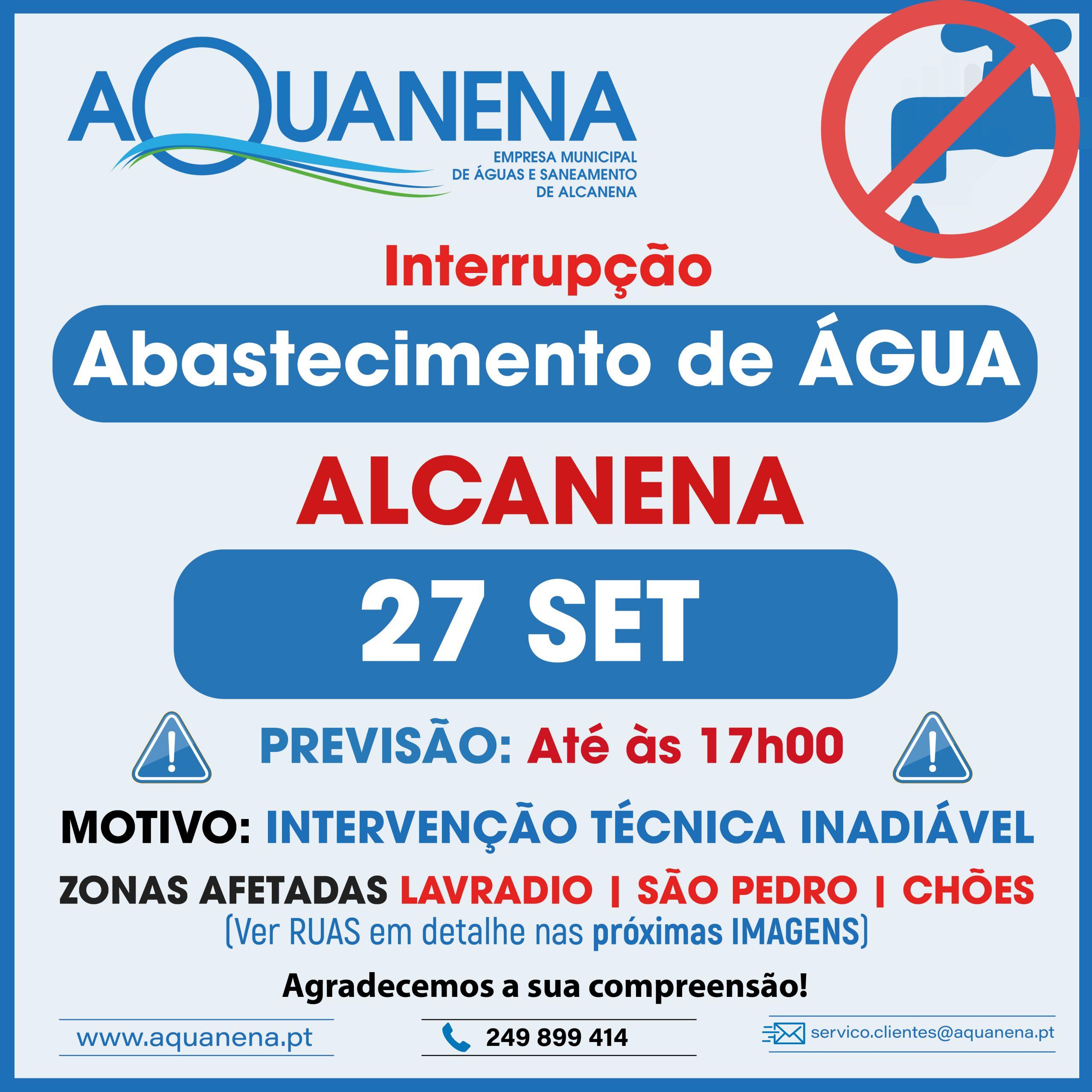 INTERRUPÇÃO DO ABASTECIMENTO de água em ALCANENA | 27 SET