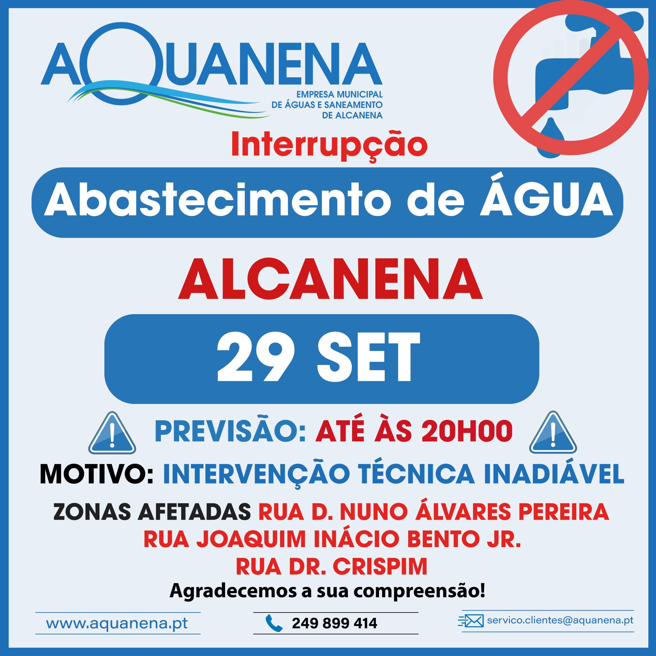 INTERRUPÇÃO DO ABASTECIMENTO de água em ALCANENA | CHÃ | 29 SET