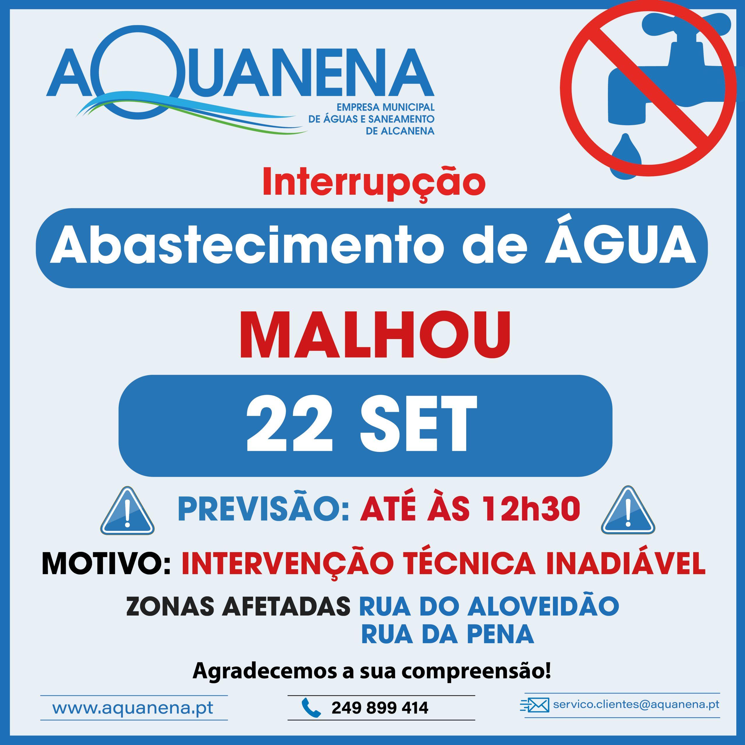 INTERRUPÇÃO DO ABASTECIMENTO de água em MALHOU